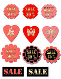 Set of luxury sale labels with circles and hearts. Set of luxury sale labels stickers with circles and hearts on white Stock Images