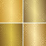 Set of luxury seamless patterns. Vintage design. Retro collection of golden wallpaper royalty free illustration