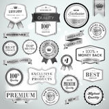Set luxury silver labels and ribbons Royalty Free Stock Images