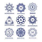 Set of luxury, simple and elegant blue monogram design templates. Good for labels and logos. Vector illustration. Line style. Big set of monograms. Monogram Royalty Free Stock Images