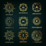 Set of luxury, simple and elegant  monogram. Designs template with copy-space for text . Good for labels and logotypes. Vector illustration Royalty Free Stock Images