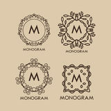 Set of luxury, simple and elegant  monogram. Designs template with copy-space for text . Good for labels. Vector illustration Royalty Free Stock Images