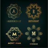Set of luxury, simple and elegant  monogram Royalty Free Stock Photos