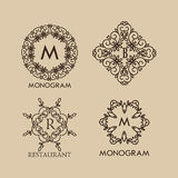Set of luxury, simple and elegant  monogram Stock Images