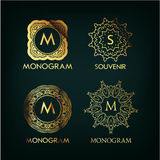 Set of luxury, simple and elegant  monogram. Designs template with copy-space for text . Good for labels. Vector illustration Royalty Free Stock Photos