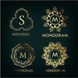Set of luxury, simple and elegant  monogram Royalty Free Stock Photography