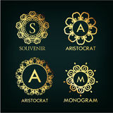 Set of luxury, simple and elegant  monogram Royalty Free Stock Images