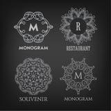 Set of luxury, simple and elegant monogram designs Royalty Free Stock Photography