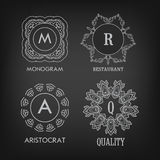 Set of luxury, simple and elegant monogram designs Royalty Free Stock Image