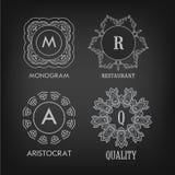 Set of luxury, simple and elegant monogram designs Royalty Free Stock Image