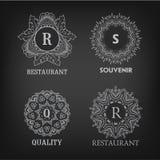 Set of luxury, simple and elegant monogram designs Royalty Free Stock Photos