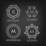 Set of luxury, simple and elegant monogram designs Royalty Free Stock Images
