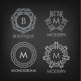 Set of luxury, simple and elegant monogram designs Royalty Free Stock Images