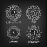 Set of luxury, simple and elegant monogram designs. Templates with copy-space for text on chalkboard background. . Good for labels. Vector illustration Stock Image