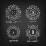 Set of luxury, simple and elegant monogram designs Stock Image