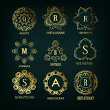 Set of luxury, simple and elegant  monogram Royalty Free Stock Photo