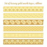 Set of luxury vintage gold washi tapes, ribbons,   Royalty Free Stock Photos