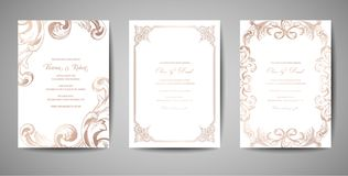 Set of Luxury Vintage Wedding Save the Date, Invitation Cards Collection with Gold Foil Frame and Wreath. trendy cover. Set of Luxury Vintage Wedding Save the royalty free illustration