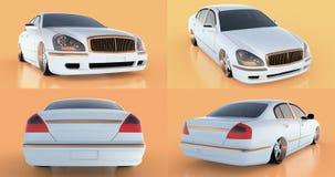 Set luxury white sedan car on an orange background with reflections. 3D rendering. Set luxury white sedan car on an orange background with reflections. 3D Stock Image