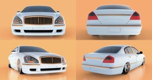 Set luxury white sedan car on an orange background with reflections. 3D rendering. Set luxury white sedan car on an orange background with reflections. 3D Stock Photo