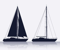 Set of luxury yachts silhouette Stock Image