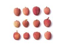 Set of 12 lychee fruits Royalty Free Stock Photo