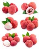 Set lychees owoc Zdjęcie Stock