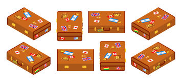 Set of lying brown travelers suitcases Stock Photography