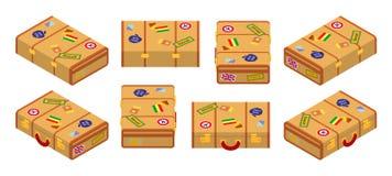 Set of lying yellow traveler`s suitcases Stock Photography