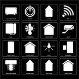 Set Mądrze dom, Eco Lotniczy conditioner, światło, tarcza, dom, condi ilustracja wektor