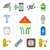 Set Mądrze dom, rękojeść, zmiana, pilot, bateria, alarm, głos royalty ilustracja