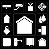 Set Mądrze dom, tarcza, Doorknob, metr, Doorbell, zatrzaskiwanie, Wat royalty ilustracja