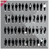 Set 48 mężczyzna czerni sylwetki, editable kolekcja Zdjęcia Stock