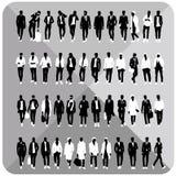 Set 48 mężczyzna czerni sylwetki z białymi płótnami na wierzchołku, kompletnie editable, kolekcja Zdjęcie Stock
