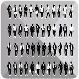 Set 48 mężczyzna czerni sylwetki z białymi płótnami na wierzchołku, kompletnie editable, kolekcja ilustracja wektor
