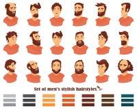 Set mężczyzna fryzury z brodami i wąsy Dżentelmenów ogolenia i ostrzyżenia również zwrócić corel ilustracji wektora Zdjęcie Stock