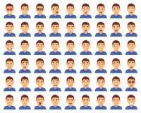Set męscy emoji charaktery Kreskówki emoci stylowe ikony Odosobneni chłopiec avatars z różnymi wyrazami twarzy mieszkanie Zdjęcie Royalty Free