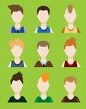 Set Męski avatar lub piktogram dla ogólnospołecznych sieci Nowożytny płaski kolorowy styl wektor Fotografia Royalty Free