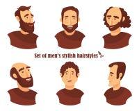 Set męskie twarzowe emocje młodego człowieka emoji charakter z różnymi wyrażeniami Wektorowa ilustracja w kreskówka stylu Fotografia Royalty Free