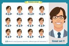 Set męskie twarzowe emocje płaski postać z kreskówki Biznesmen w krawacie i kostiumu Ludzie biznesu w round ikonach Odosobniony w royalty ilustracja