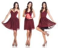 Set młoda piękna kobieta w sukni Zdjęcie Stock