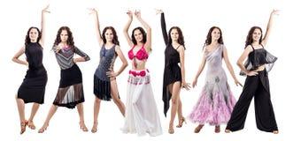 Set młoda tancerz kobieta w pięknej sala balowej ubiera Zdjęcie Stock