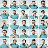 Set młodego człowieka ` s portrety z różnymi emocjami zdjęcie royalty free