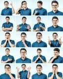 Set młodego człowieka ` s portrety z różnymi emocjami i gestem zdjęcie royalty free