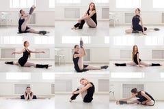 Set młody baleriny szkolenie w gym fotografia stock