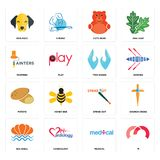 Set of m, medical, sea shell, strike out, potato, two hands, painters, cute bear, dog face icons. Set Of 16 simple  icons such as m, medical, cardiology, sea Stock Photography