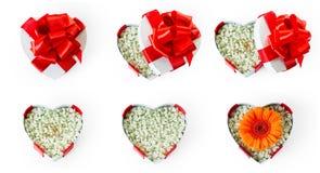 Set małżeństwo propozyci serce kształtował prezentów pudełka Zdjęcia Royalty Free