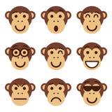 Set małpi emoticons Śmiesznego małpiego przedstawienia różne emocje Zdjęcia Royalty Free