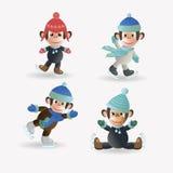 Set małpy na łyżwach ilustracji