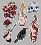 Set of occult witchcraft classic flash patches. Royalty Free Stock Image